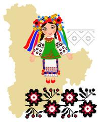 Girl in folk costume of the Kiev region in the map background re