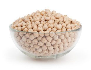 Chickpea isolated on white background with clipping path