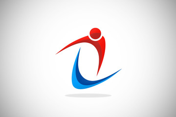 sport abstract loop people fitness logo