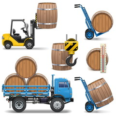 Vector Barrels Shipping Icons