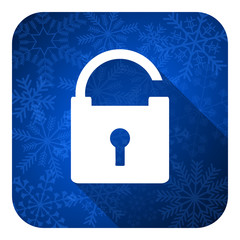 padlock flat icon, christmas button, secure sign