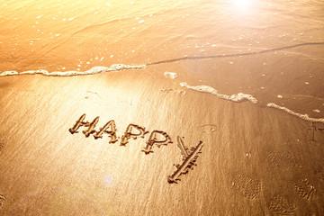 Happy sand handwriting