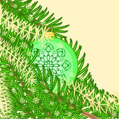 Christmas decoration vintage rosette green baubles vector