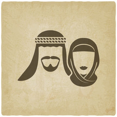Muslim man and woman old background
