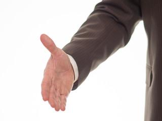 Hand zur Begrüßung ausgestreckt