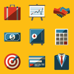 Flat icon set. Business