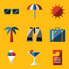 Flat icon set. Travel
