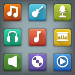 Flat icon set. White Symbols. Music