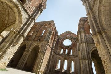 Old Gothic abbey - Abbey of San Galgano, Tuscany, Italy