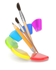 Paintbrushes and color palette