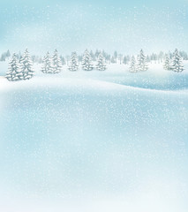 Winter christmas landscape background. Vector.