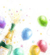 Champagne party.New Year..Birthday greeting card. - 73430402