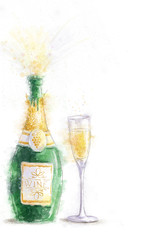 Bottle of champagne on white background with glass.