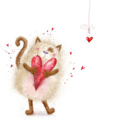 Love. Cute cat with red heart.Valentines day.Love background.