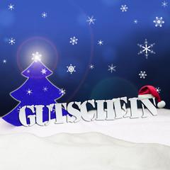 Christmas voucher Gutschein tree snow blue