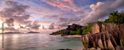 Anse Source d'Argent panorama at twilight, La Digue, Seyshelles © Oleksandr Dibrova