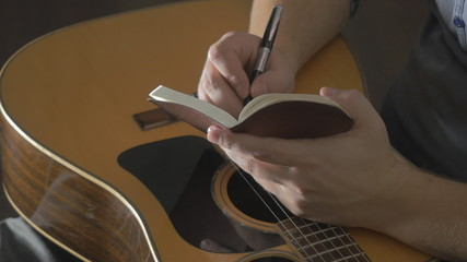 tablet and pencil on guitar, Writing music