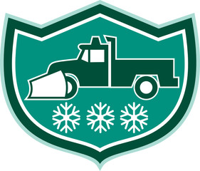 Snow Plow Truck Snowflakes Shield Retro