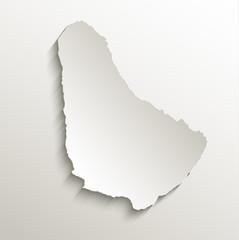 Barbados map card paper 3D natural vector