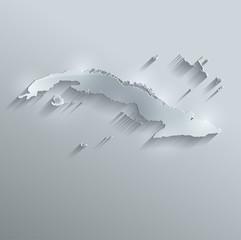 Cuba map flag glass card paper 3D vector