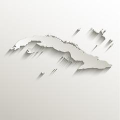 Cuba map card paper 3D natural vector