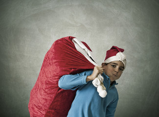 children with sack of gifts santa claus