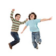 Crazy kids jumping with joy