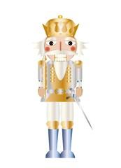 Nussknacker König Weiß Gold