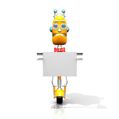 Robot with white panel 3d illustration