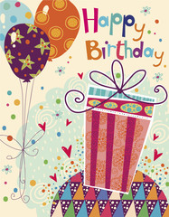Happy birthday greeting card with gift , balloons.