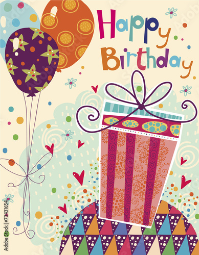 Happy Birthday Greeting Card With Gift Balloons
