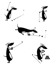 Cartoon comic dogs silhouettes golf set for design