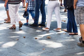 line on the sidewalk