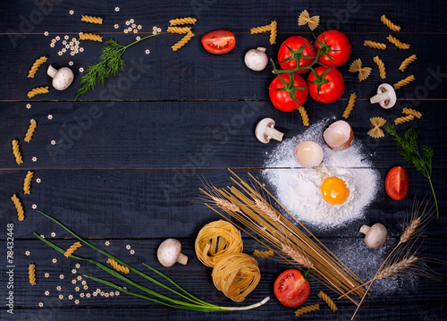 Raw pasta and other ingredients