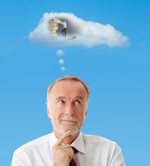 Senior man dreaming about finance, symbol
