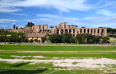 Ruins of Circus Maximus and the Domus Augustana  in Rome