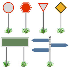 Blank street post signs set vector template.