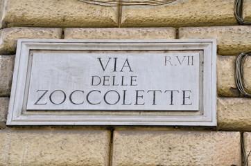 Street plate, Via delle Zoccolette in Rome