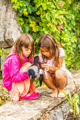 Crow and two little girls