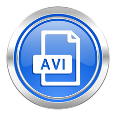 avi file icon, blue button