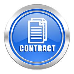 contract icon, blue button