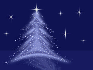 blue christmas tree illustration with stars and sparkles