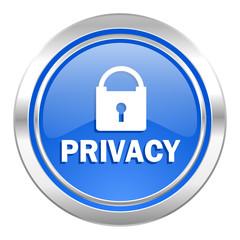privacy icon, blue button