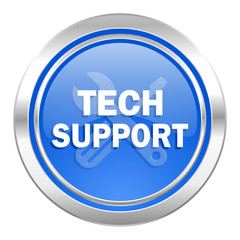 technical support icon, blue button