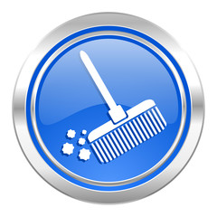 broom icon, blue button, clean sign