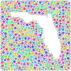 Map of Florida - USA - into a square icon