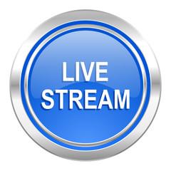 live stream icon, blue button