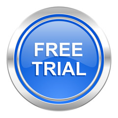 free trial icon, blue button