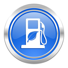 biofuel icon, blue button, bio fuel sign