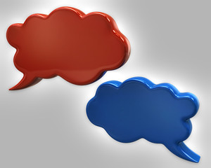 Illustration of orange and blue speech bubbles